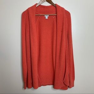 L.L. Bean Coral Open Front Ribbed Knit Cardigan